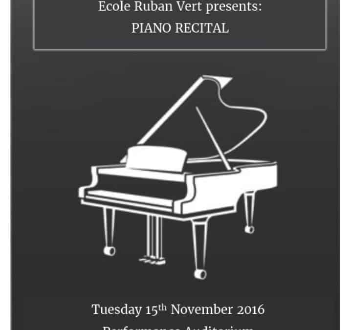 Piano Recital – Tuesday 15th November 2016