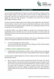 Les politiques de erv ecole ruban vert for Reglement interieur auto ecole