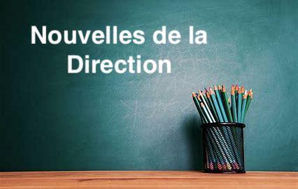 Nouvelles de la Direction – 02 octobre 2018