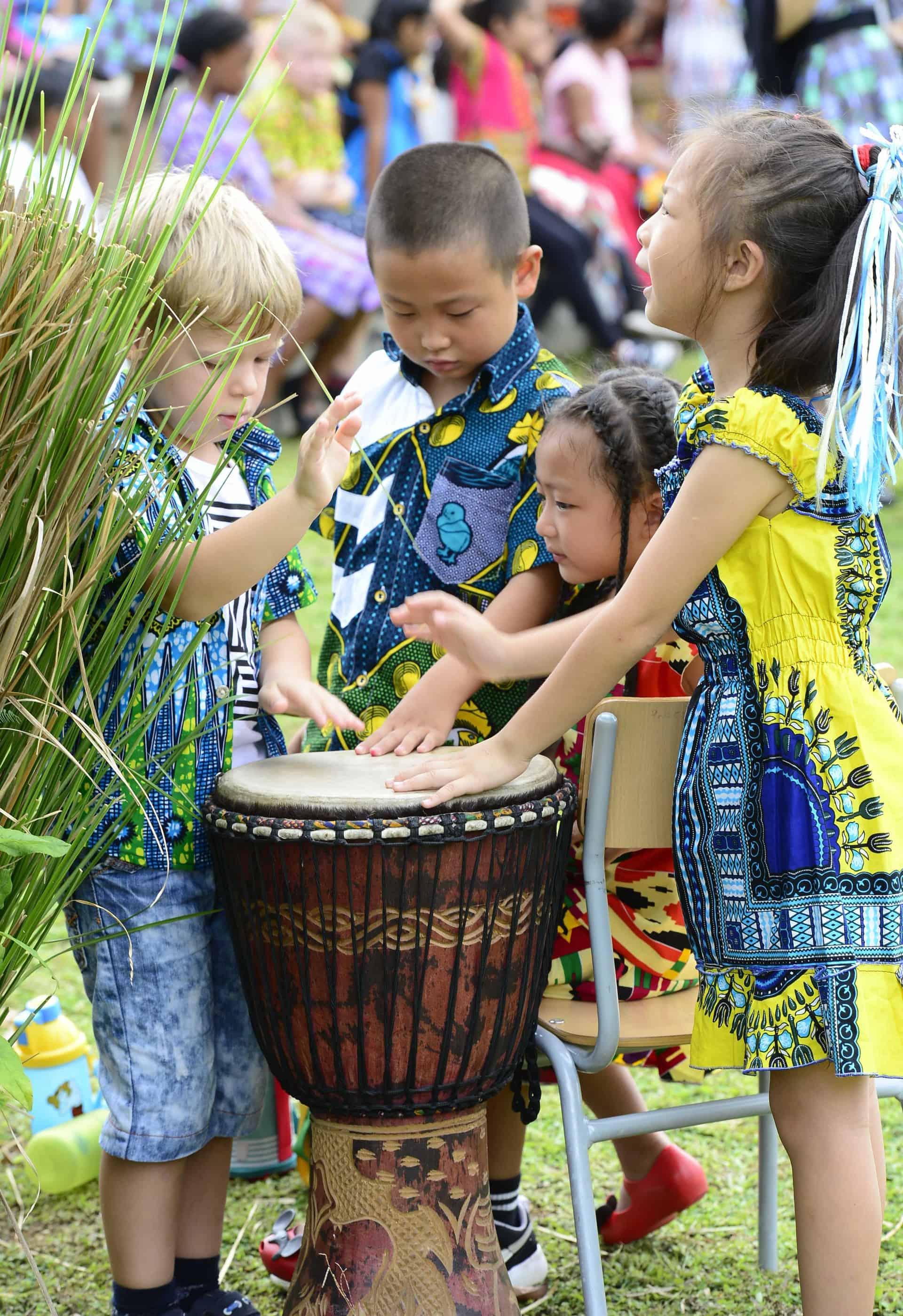 Learning Sustainability - Children with traditional drum